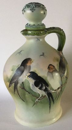 Rare NIPPON Porcelain DECANTER JUG w/ Moriage hand painted SWALLOW BIRDS