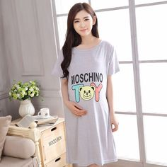 2016 New Cotton Cartoon Maternity Sleepwear Pregnant Women Pajamas Nursing Breast Feeding Nightgown Clothes For short Sleeve