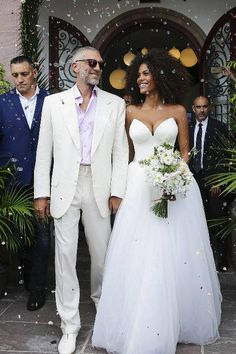 This Major French Model's Wedding Dress Is So American See French Model Tina Kunakey& Wedding Dress Ballroom Wedding Dresses, Wedding Reception Outfit, Celebrity Wedding Dresses, Celebrity Weddings, Wedding Gowns, Backless Wedding, Wedding Shoes, Wedding Dress Tea Length, Wedding Dresses Plus Size