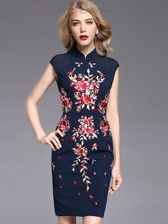 Buy Vintage Embroidery Improved Cheongsam Slim Dress at DressSure.com, Design Vintage Embroidery Improved Cheongsam Slim Dress with High Quality and Low Price.