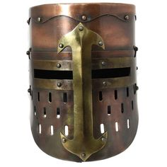 Enterprises Handmade Collectable Medieval Knight Armor Helmet (Copper), Gold (Brass)