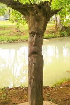 Orr Park's dead trees have been carved into a menagerie of whimsical visages.