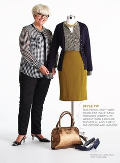 """Cleo Fall Style with Lynn Spence: Lynn's Style Tip """"This pencil skirt with seamless waistband provides versatility - wear it with a blouse tucked in, add a belt, the options are endless"""" 50 Fashion, Plus Size Fashion, Autumn Fashion, Womens Fashion, Mature Women Fashion, Advanced Style, Plus Size Women, Work Wear, How To Look Better"""