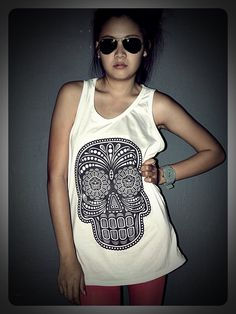 Skull Obey Day Of The Dead Tank Top Shirt T-Shirt Women & Men Unisex Size S , M , L , XL. $15.99, via Etsy.
