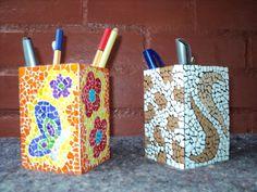 Porta lápis - mosaico com casca de ovo