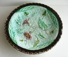 Antique Majolica Plate Vintage Dish Shabby Chic by kathleendaughan