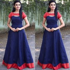 Blissing blue and red patterened gown Indian Fashion Dresses, Indian Gowns Dresses, Dress Indian Style, Indian Designer Outfits, Fashion Outfits, Indian Wear, Girls Frock Design, Long Dress Design, Dress Neck Designs