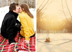 Blanket and heart in the snow
