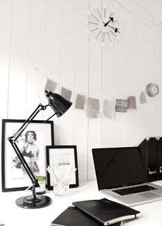 Garden studio contemporary-home-office Hang an inspiration string with paper clips and twine. Just have a few little things to display? This minimalist setup may be the one for you.