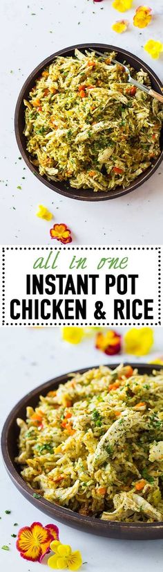 Chicken and rice is the perfect comfort food all year round! Make it entirely in the Instant Pot to save on dishes! Quick, easy, nutritious and delicious! via @greenhealthycoo