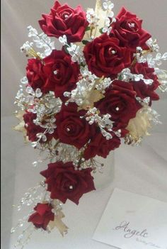 Red rose and gold crystal trailing bouquet. Romantic Wedding Colors, My Perfect Wedding, Red Wedding, Gold Bouquet, Bride Bouquets, Crystal Bouquet, Bridal Flowers, Flower Bouquet Wedding, Trailing Bouquet