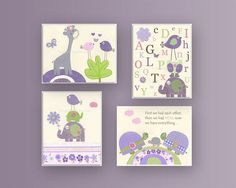 Baby girl Room Decor, Nursery wall Art prints, set of 4 8x10..match to carters elephant patches bedding, lavender and green, $65.00