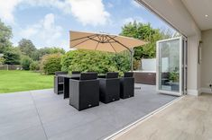 How good does our range of Slate Grey Porcelain Paving look here? 😍 Tom has used our porcelain slabs to create a stylish looking outdoor space that compliments his existing beautiful interior design 🙌 Visit our site to order your FREE sample today! Garden Slabs, Slate Garden, Outdoor Porcelain Tile, Outdoor Tiles, Slate Paving, Small Garden Landscape, Contemporary Patio, Garden Buildings, Patio Lighting