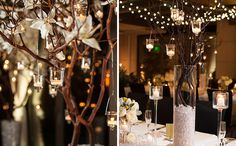 Set the scene for a winter party with floating candles and twinkling lights.