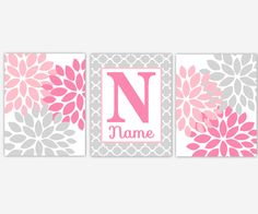 Hey, I found this really awesome Etsy listing at https://www.etsy.com/listing/256292812/pink-gray-floral-wall-art-baby-girl