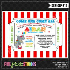 CIRCUS TICKET Birthday Party INVITATION or by PinkPickleParties, $10.00