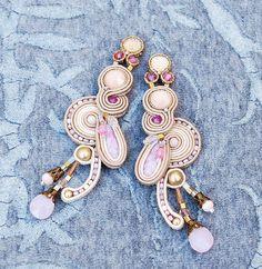 Extralong soutache earrings. Soutache earrings. Pink earrings.