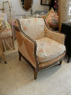 Mocha upholstered chair with vintage 1930 s deco chenille bedspread slipcover