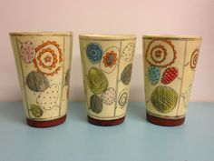 Playful, happy decorating on these tumblers by Kari Radasch