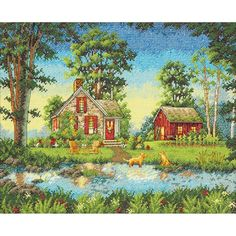 "Summer Cottage Counted Cross Stitch Kit- 14"" x 11"""