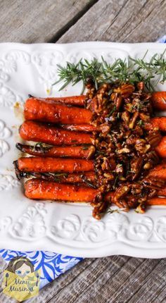 Menu Musings of a Modern American Mom: Braised Baby Carrots with Rosemary Infused Maple Pecan Glaze