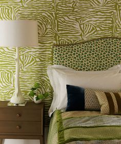 Animal prints in unexpected shades, like this green, enliven a room without making it feel too wild.