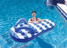 Swim Time Marine Blue Flip Flop 71 in. Inflatable Pool Float - Swimming Pool Floats at Hayneedle