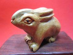 chinese Top Grade Yellow poplar handwork zodiac rabbit statue Ornaments&B22
