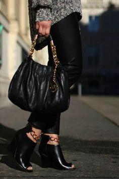 pants - Hallhuber / sweater, shoes - Forever21 / bag - Michael Kors / sunglasses - Asos Forever21, Knits, Leather Skirt, First Love, Asos, Michael Kors, Handbags, Sweater, Sunglasses