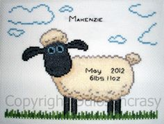 Baby Announcement Wallace and Gromit Sheep Counted Cross Stitch