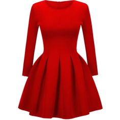 Stylish Round Neck 2 Colors Plain Skater Dress ($31) ❤ liked on Polyvore featuring dresses, long dresses, pattern dress, red dress, tent dress and swing dresses