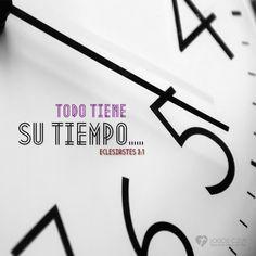 Eclesiastés 3:1 Todo tiene su tiempo, y todo lo que se quiere debajo del cielo tiene su hora.♔