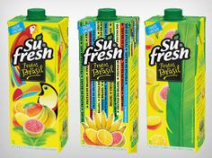 Sufresh linha frutas tropicais PD Smart Packaging, Packaging Design, Tropical, World Cup, Packing, Graphic Design, Tropical Fruits, Breakfast Nook, Line