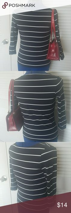 EUC The Limited black with white stripes top EUC The Limited black with white stripes top, 3/4 sleeves, I love this top, but it's on the smaller size of medium.  Shoulder to hem is 21.25 in. Armpit to armpit is 17 in. Fabric has some stretch. Red Brighton shoulder bag available in my closet, too! The Limited Tops