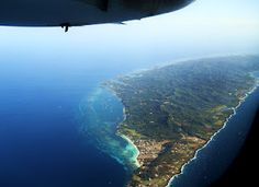 Flying over the West Bay Area of Roatan.