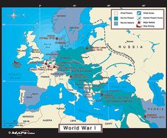 World War One Map - Eastern and Western Fronts -1917 and Beyond