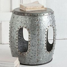 "Features:  -Galvanized, industrial metal stool.  -Silver finish.  -Industrial style.  Frame Finish: -Silver.  Frame Material: -Metal. Dimensions:  Overall Height - Top to Bottom: -19"".  Overall Width"