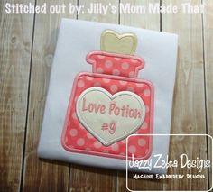 Love Potion Applique Design: Jazzy Zebra Designs