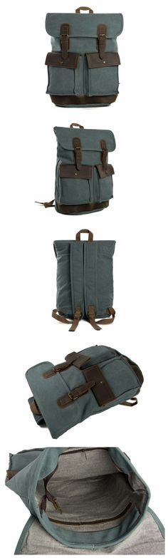 Canvas Leather Backpack School Backpack Casual Backpack