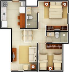 Model House Plan, House Layout Plans, Bedroom House Plans, Dream House Plans, Small House Plans, House Layouts, 3d Home Design, Home Design Plans, Architectural House Plans