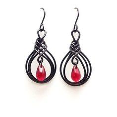Gothic Black and Red Teardrop Earrings Beaded Herringbone Wire Wrapped