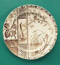 Antique Aesthetic Brown Transferware J.H. Davis Osborne Dinner Plate 19th C