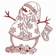 Redwork Snow Man embroidery design
