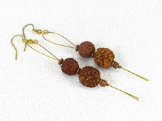 Rudraksha Seed Spiritual Drop Earrings w/ Ethiopia Copper on Tigertail #s039 by CycleofLifeDesign on Etsy