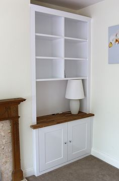 Traditional alcove bookcase with oak worktop
