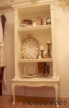 Piano bench, simple bookcase and crown molding ... painted to unify into glamorous Shelving decor