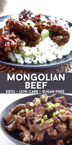 Easy slow cooker mongolian beef, with a tangy sugar-free sauce. So easy to make . - Easy slow cooker mongolian beef, with a tangy sugar-free sauce. So easy to make and the whole famil - Ketogenic Recipes, Meat Recipes, Slow Cooker Recipes, Healthy Dinner Recipes, Paleo Recipes, Cooking Recipes, Ketogenic Diet, Paleo Food, Lindas Low Carb Recipes