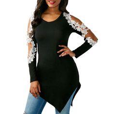 2e23503315 New Fashion Women Spring Sexy Lace Shirt Long Sleeve Shirt Tops
