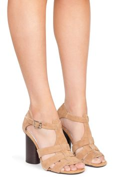 Jeffrey Campbell Shoes HELOISE Sandals in Camel Suede
