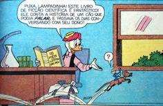 Professor Pardal lê livro de ficção científica. Ilustração de Walt Disney